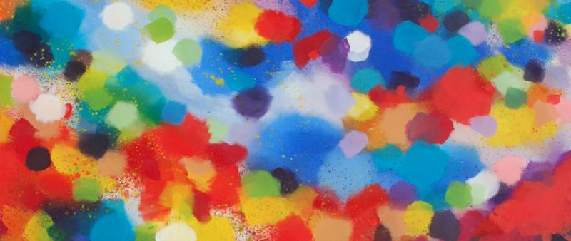 Experimentelle Malerei mit Pinsel, Schwamm und Salzstreuer